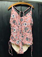 New KONA SOL 24W Plus Size Side Cinch Bathing Swim Suit One-Piece Pink Floral