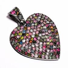 "Natural Diamond Multi Tourmaline Pave Jewelry 925 Sterling Silver Pendant 1.5"""