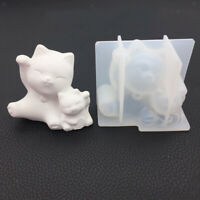 Cat Shape Silicone Handmade Home Ornament Mould Resin Casting Craft Mold