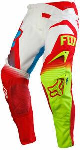 Fox 360 Pants Wht/Red/Hi-vis Size 28 Motocross MX Enduro Off-Road Quad