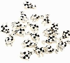 Giraffe Shaped Silver & Enamel Beads Large Hole Pack of 19