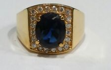 Men's Gold Plated Sterling Silver 925 Lab Created Sapphire & CZ Ring size  14