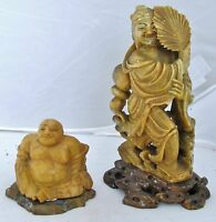 """2 Antique or Vintage Chinese Carved Yellow Soapstone Hotei Buddha & 5"""" Immortal"""