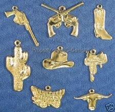135pc Gold Plate Country Western Cowboy Lot Charms 4674