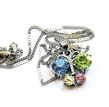 Butterfly Pendant Chain Necklace Jewelry Multi-Color Acrylic Diamond Alloy Metal