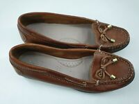M&S Footglove size 3.5 (36.5) tan brown leather deck shoes slip on flat moccasin