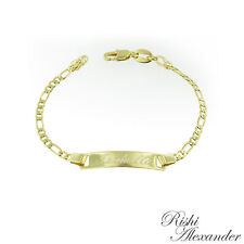 18k Gold Filled Figaro Link Childrens ID Bracelet Free Personalized Engraving