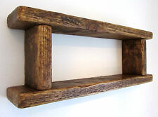 70CM HANDMADE RECLAIMED DISTRESSED PLANK WOOD RUSTIC BROWN WAXED 2 TIER SHELF