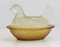 Vintage Indiana Glass Hen On Nest Iridescent  Chicken Candy Dish Bowl with lid.