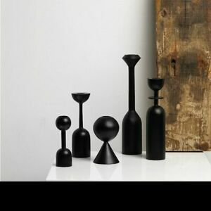Black Wooden Candle Holder Geometric Design Candlestick Stand Retro Style Decor