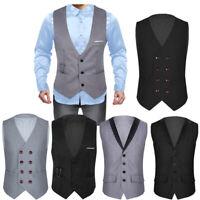 Mens Formal Business Vest V-neck Waistcoat Slim Fit Casual Coat Wedding Tuxedo