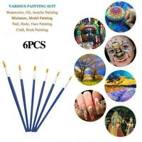 6X Artist Paint Brushes Kit Acrylic Oil Watercolour 2021 Tool Painting Art P4K5