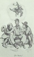JK Ralston Cowboy Western Art Humor Signed Postcard