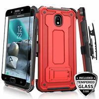 For Samsung Galaxy J3 Orbit/Star/V 2018 Rugged Case Holster Cover+Tempered Glass