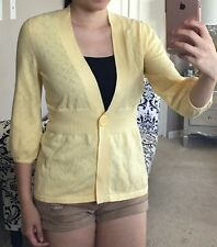 Yellow Eyelet Dot V Neck Single Button 3/4 Puff Sleeve Cardigan Sweater Top S