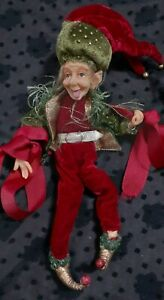 """CHRISTMAS 9"""" ELF GREEN & WINE COLOR DECORATIVE WIRE FRAME DOLL used"""