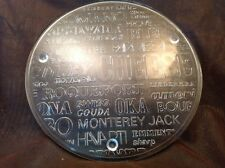 """Cheese plate w names of cheeses, 13""""Heavy glass Serving Platter Tray Dish  B6"""