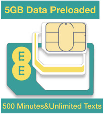 EE 4g PAYG Trio SIM Card Preloaded With 5gb Data 500 Minutes Unlimited Texts