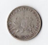 TRES RARE MONNAIE DE 1 FRANC SEMEUSE ARGENT DE 1903 @ SILVER COINS @ PROMO TOP !