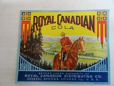 Royal Canadian Cola Soda Label Royal Canadian Distributing Co.MOUNTIE HORSE