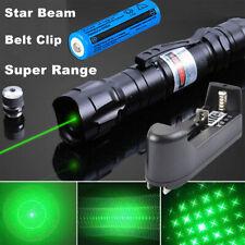 900Miles 532nm Green Laser Pointer Pen Visible Beam Star Cap Belt Clip Batt+Char