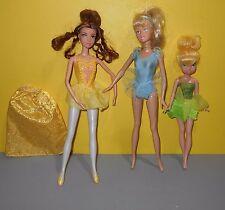 "Mattel Disney Barbie Belle & Cinderella Ballerina Dolls w/ 9"" Tinker Bell Doll"