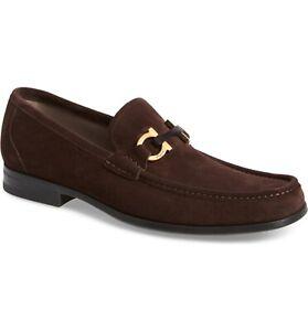 NEW SALVATORE FERRAGAMO Grandioso Brown Suede Gold Gancini Bit Mens Shoe!