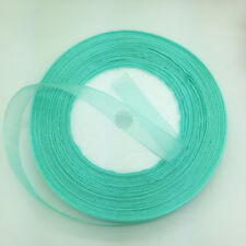 "New 50 Yards 3/8"" 10mm Cyan Organza Ribbon Bow Wedding Decoration Lace Crafts"