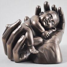 MEDIUM Bronze Baby In Hands Sculpture Ornament Keepsake Birth Gift Dreams 01715
