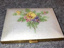 New listing Retro Art Deco 40's Guilloche Violet Floral Gold Cigarette Case ~ Holder *Nice*