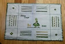 1940 Linen Needlework Sampler by June Cope