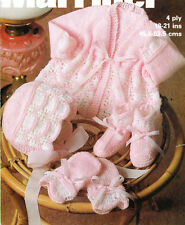 BABY KNITTING PATTERN FOR   matinee jacket bonnet booties  mitts  4 ply 18/21 in