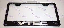Honda VTEC Laser Style Stainless Steel Black License Plate Frame Caps