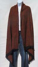 Himalayan Sheep Wool Blend | Shawl/Throw | Hand Loomed|Reversible| Orange/Black