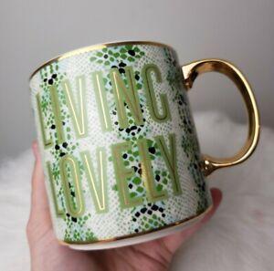 Anthropologie Gisele Living Lovely Coffee Tea Mug Green Snakeskin Gold Handle