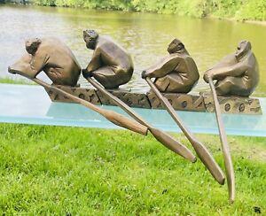 Bronzeplastik Ruderer Skulptur Plastik Sportpokal
