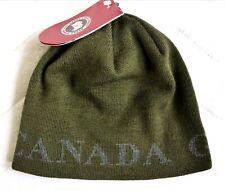 Genuine CANADA GOOSE Military Green MERINO WOOL Skull BEANIE Toque Hat Tags