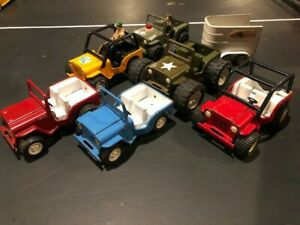 Tonka 1960s/70s set of 7 vintage jeeps and horse trailer