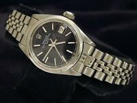 Rolex Oyster Perpetual Date Ladies Stainless Steel Watch Jubilee Black Dial 6916