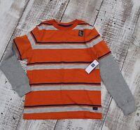GAP Boys Sz 4-5 6-7 8-9 10-11 12 NEW Orange Gray Blue Stripe Long Sleeve Shirt