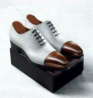 Eleganti scarpe eleganti da uomo in pelle bianche e marroni fatte a mano