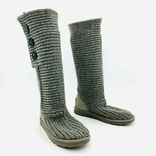 Ugg Australia Cardy Triple Button Gray Knit Sweater Boots Womens Size 8
