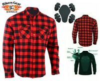Australian Bikers Gear CE Armour Motorcycle Flannel Shirt made lined with Kevlar