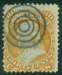 EDW1949SELL : USA 1868 Sc #100 Used Neat Blue Target cancel. PSAG Cert Cat $950+