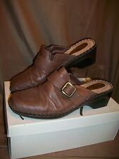 *USED* *WORN* KIM ROGERS JANE WOMENS SIZE 10 M BROWN LEATHER SHOES MULES SLIDES