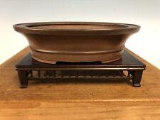 "Oval Brown Clay Shohin Size Tokoname Bonsai Tree Pot By Bigei 6 1/4"""