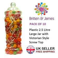 10 x Large Plastic Jars Vintage Victorian Wedding Party Sweet Buffet Candy Shop