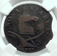 1787 US post Colonial PRE-FEDERAL NEW JERSEY Penny Antique Coin HORSE NGC i78714