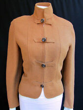 Valentino Women Camel Beige Wool Angora Short Army Jacket Military Buttons 46/12
