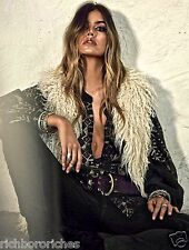 NWT Free People Reversible Long Faux Fur Vest Ivory Black Embroidered Jacket M